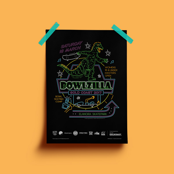 Bowlzilla 2017 portrait poster design
