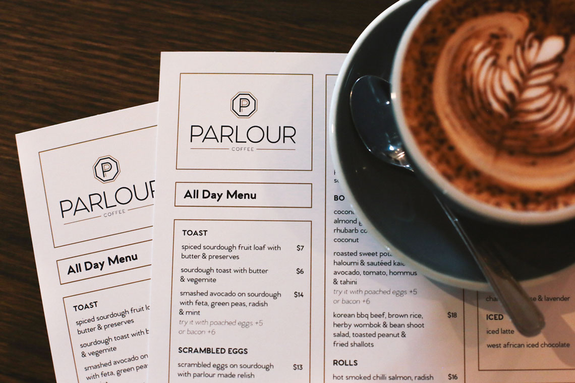Parlour Coffee menu design